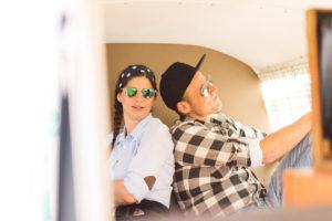 Vespa Fans im Photobus beim Oldtimer Treff am Bodensee